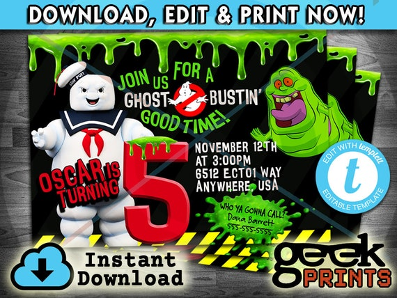 image about Ghostbusters Printable named Marshmallow Male Invitation motivated by way of Ghostbusters