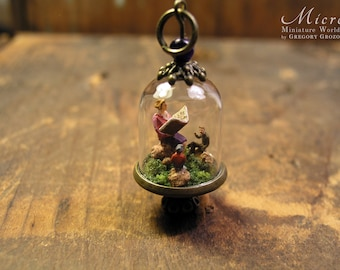 A giant woman is holding a book and reading stories to the little people sitting around her, glass dome pendant