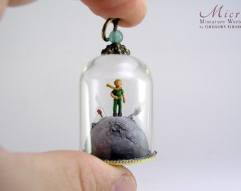Miniature world pendant - A little boy standing on his planet with a rose under a tiny glass dome