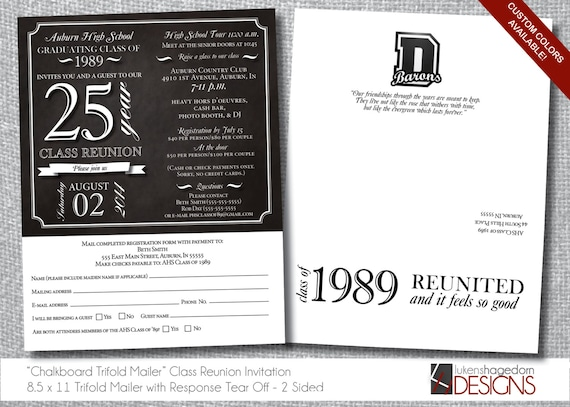 class reunion invitation trifold letter mailer tear off etsy