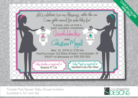 Mothers double baby shower invitation custom colors etsy image 0 filmwisefo