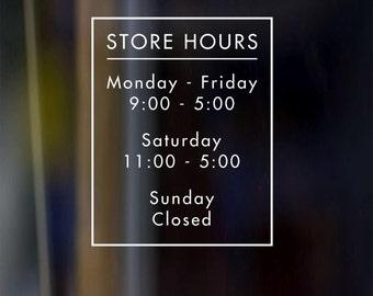 Custom Vinyl Decal Door Store Business Restaurant Barber Boutique Spa Open Hours Sign 9x12 - 3 business days