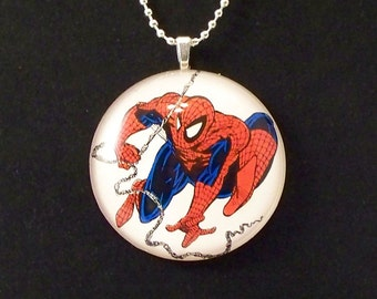 Swinging Spiderman Glass Pendant Necklace