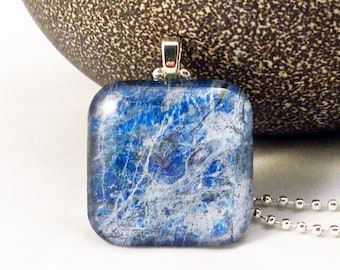 Blue Marble Design Glass Pendant Necklace with Two Chains