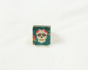 Day of the Dead Skull #2 Glass and Metal Adjustable Ring in Black Gunmetal Finish