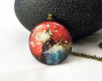 Galaxy Round Glass Pendant Necklace