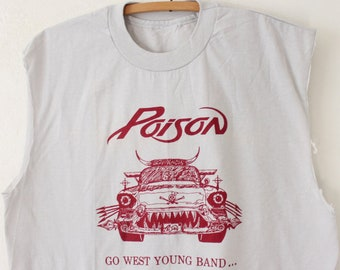 e3028fa4a LARGE Vintage 80s/90s Poison Go West Young Band... Rare Soft and Light  Sleeveless Shirt