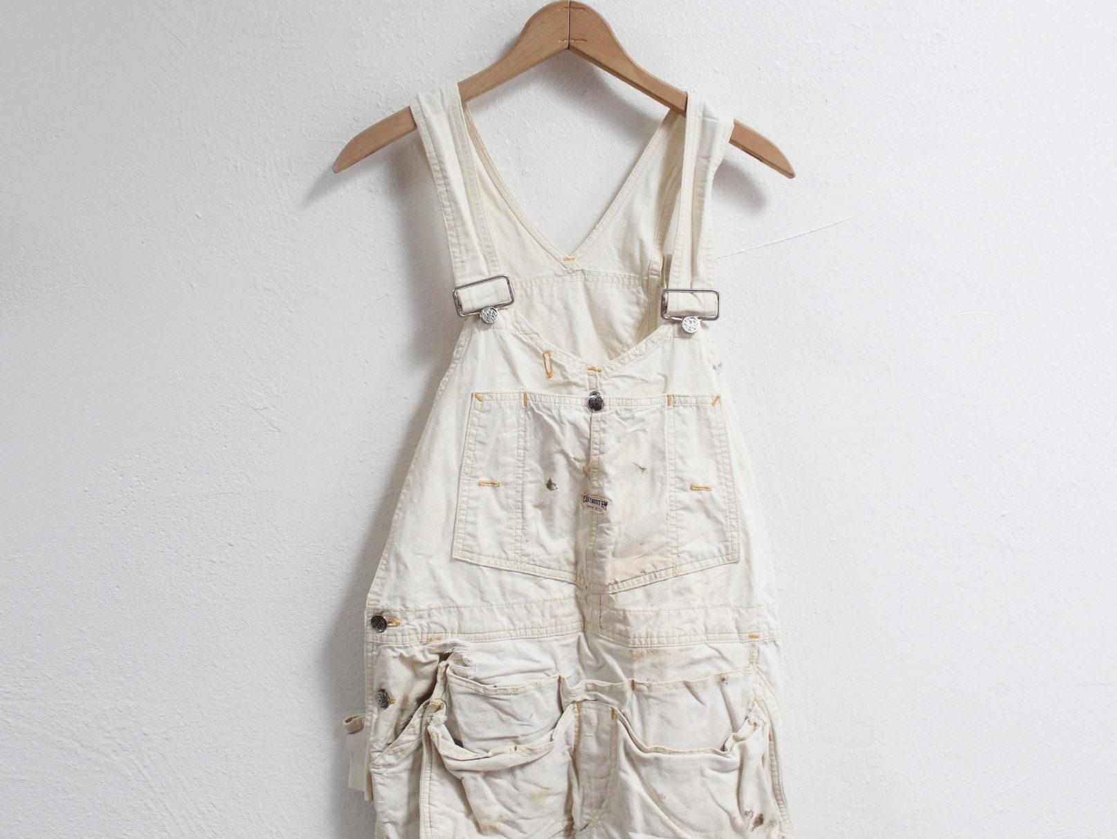 1940s Mens Ties | Wide Ties & Painted Ties 40x28 Vintage 1940S Cant Bust Em Gold Label Union White Painter Overalls $40.00 AT vintagedancer.com