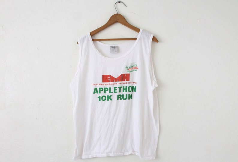 XLARGE Vintage 1990s Elyria Applethon 10K Run Soft and Thin Graphic Tank Top