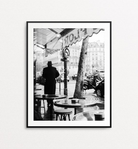 Paris Cafe Photo, Paris Print, Paris Wall Art, Paris Decor, Paris Street Photography, Large Wall Art, Paris Cafe Print, Cafe de Flore