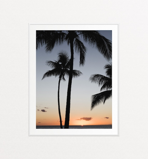 Palm Trees Print, Palm Trees Wall Art, Hawaii Print, Hawaii Wall Art, Palm Trees Decor, Sunset Print