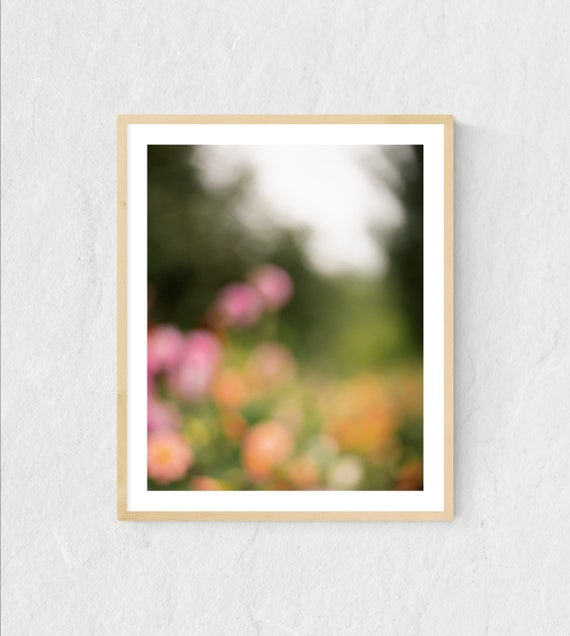 Botanical Print, Dahlia Garden in Bloom, Botanical Wall Art, Botanical Art, Dreamy Decor, Bedroom Decor