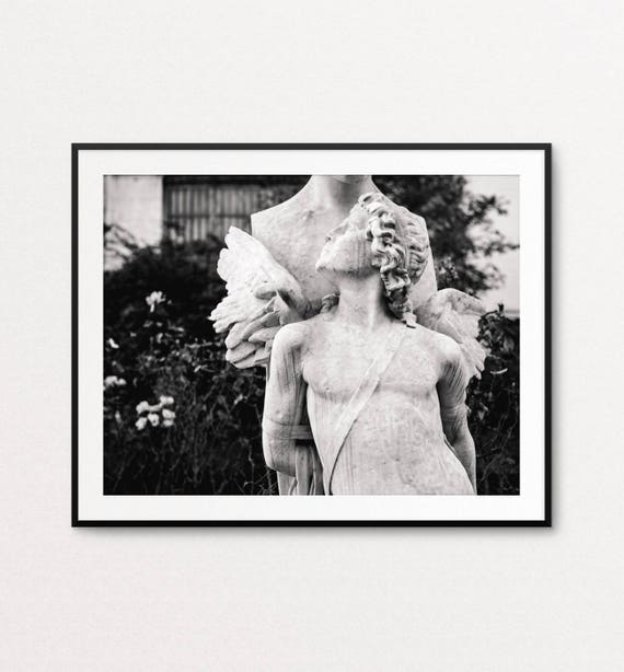 Angel Photo - Paris Photography, God of Love, Felix Sanzel, Black and White Angel, Holiday Decor, Paris Wall Art, Paris Bedroom Decor