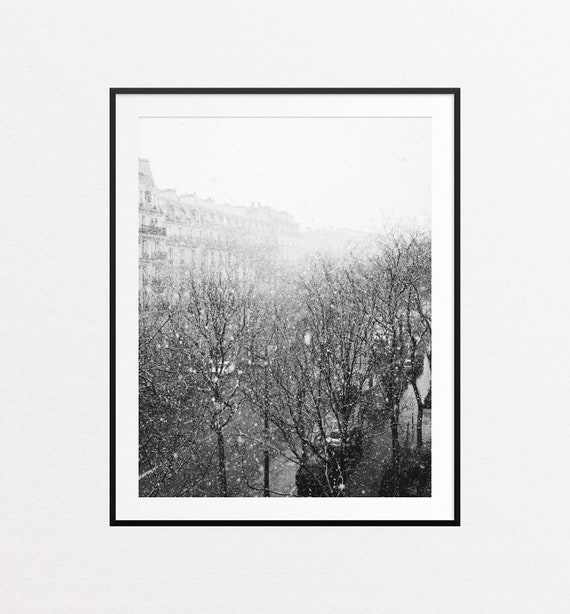 Snowfall in Paris Print, Paris Wall Art, Paris Decor, Home Decor, Paris Print