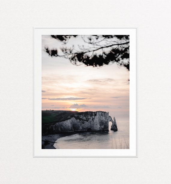 Étretat France Print, Ocean Print, Ocean Wall Art, Sunrise Wall Art, Nature Photograph, Travel Decor, Nature Wall Art, White Chalk Cliffs