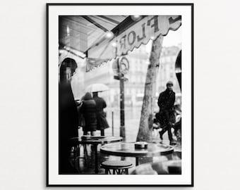 Paris Cafe Photograph, Paris Print, Paris Wall Art, Paris Decor, Paris Street Photography, Large Wall Art, Paris Cafe Print, Cafe de Flore