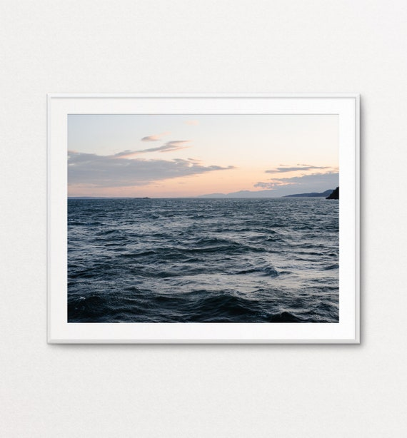 Ocean Print, Ocean Decor, Ocean Wall Art, Sea Print, Sea Wall Art, PNW Print, Puget Sound Print, Sunset Print