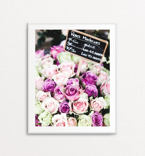 Paris Flower Market Photo - Paris Photography, Floral Wall Art Print, Paris Print, Pink Roses, Paris Decor, Paris Bedroom Decor