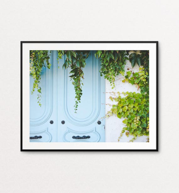 Paris Photography, Paris Door Photo, Paris Print, Paris Decor, Paris Bedroom Decor, Architectural Decor, Blue Door, Paris Wall Art
