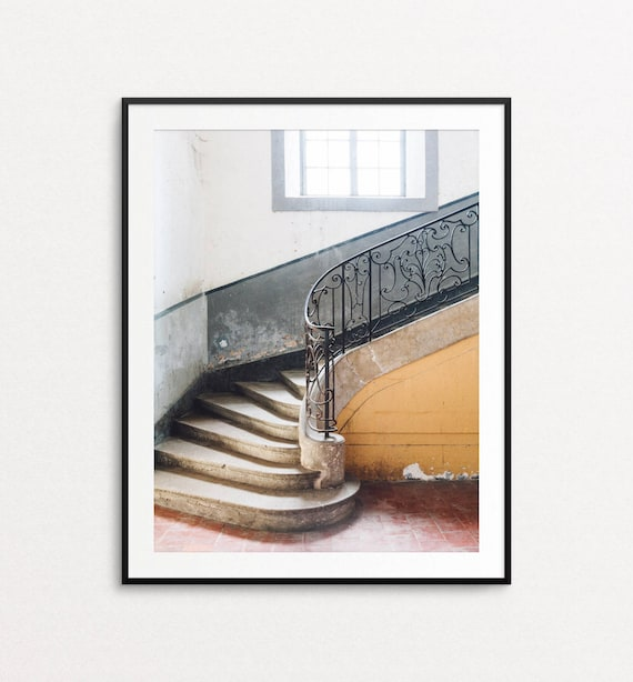 French Country Photo, Staircase Photo, Home Decor, French Staircase, Dreamy Photo, Fine Art Photography, French Country Wall Art Print