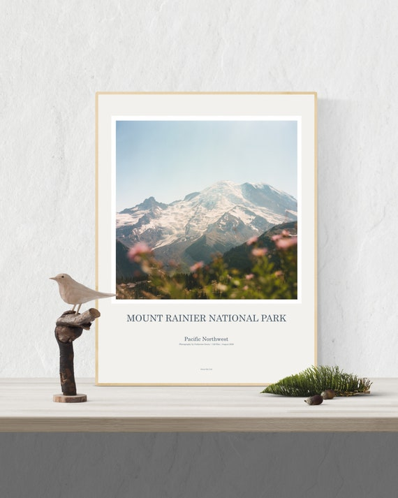 Mount Rainier Art Print Poster, PNW, Pacific Northwest, Mount Rainier Wall Art