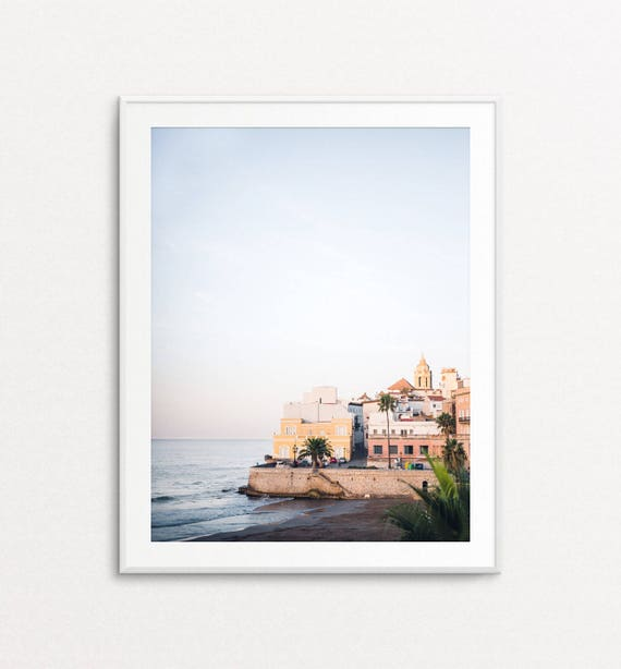 Ocean Print, Ocean Wall Art, Mediterranean Print, Sitges Spain, Ocean Sunrise, Pastel Wall Art, Bedroom Decor, Ocean Home Decor