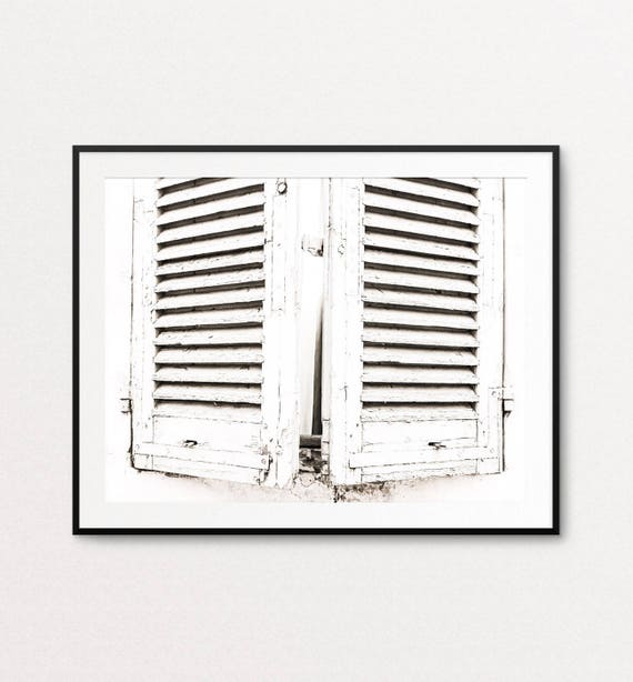 French Country Photo, French Country Print, French Country Decor, White Shutters, French Country Bedroom Decor, Rustic Decor