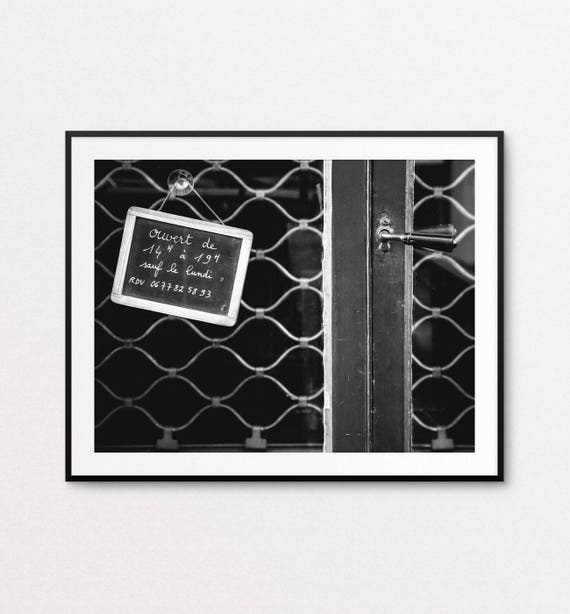 French Sign, Paris Photography, French Writing, Paris Print, Paris Decor, Home Decor, Paris in Black and White, Paris Wall Art Print