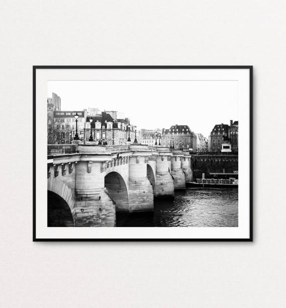 Pont Neuf Photo, Paris Photography, Paris Print, Paris Decor, Paris Wall Art, Paris Black and White, Paris Large Wall Art Print, Paris Image