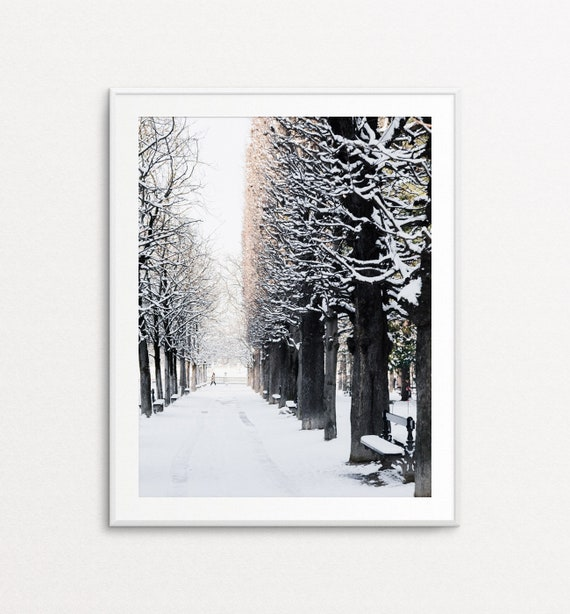 Paris Luxembourg Gardens, Paris Snowfall, Paris Photography, Paris Print, Paris Bedroom Decor, Paris Home Decor, Paris Decor, Paris Wall Art