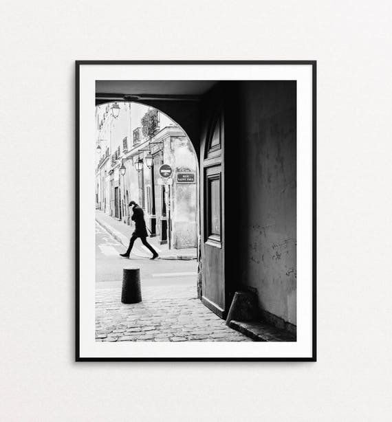 Paris Street Photo - Paris Photography, Paris Print, Paris Decor, Paris in Black and White, Home Decor, Rue Saint Paul, Paris Wall Art Print