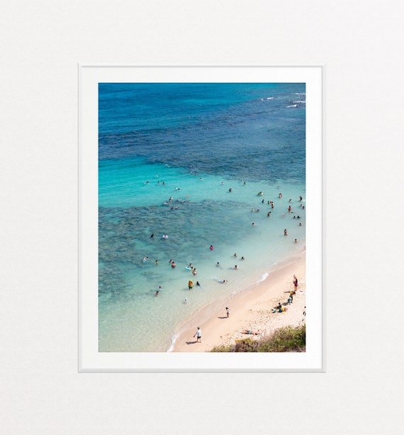 Hanauma Bay Print, Hawaii Print, Beach Wall Art, Beach Print, Ocean Wall Art, Ocean Decor, Blue Ocean Print