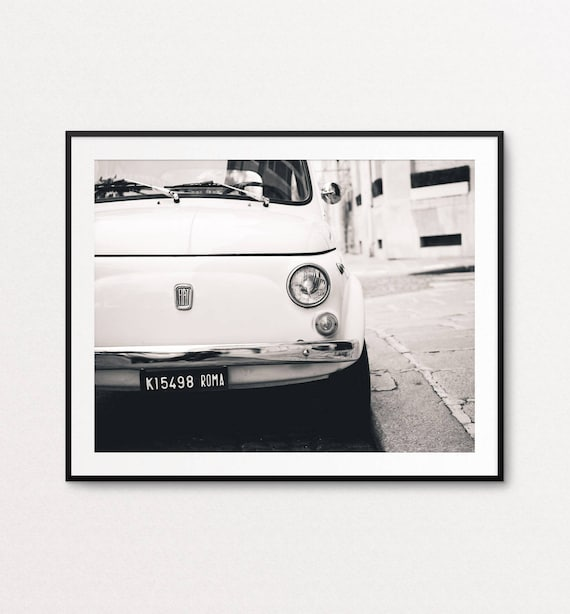 White Fiat Photo - Paris Photography, Fine Art Photography, Paris Print, Paris Decor, Home Decor, Vintage Car Photo, Fiat Wall Art