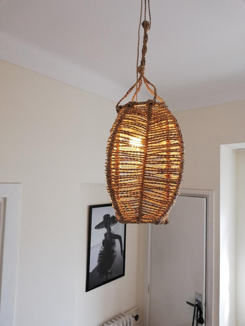 new arrival 432e7 65204 Wooden ceiling light // art light, rattan chandelier, wicker shade