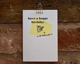 Yikes Kitten Happy Birthday, letterpress greeting card