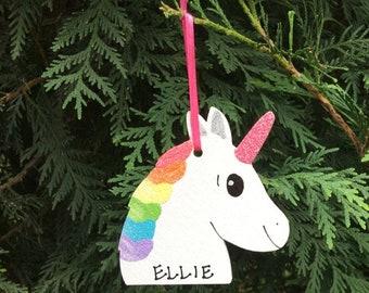 Personalized Ornament, UNICORN. Personalized Christmas Ornament. Girl's Ornament. Child's Ornament. Personalized Kids Christmas Ornament.