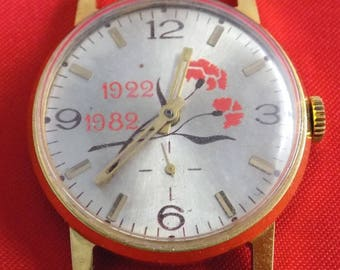 Special award to WW 2 vintage watch POBEDA Made in USSR Serviced Gold plated k506