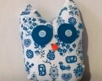 Blue and White Stuffed Owl
