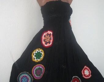 Boho Gypsy Skirt Dress, Crochet Long Skirt, Boho Cotton Skirt, Crochet Necklace Gift,Hippie,Bohemian,Colourful Skirt Dress, Boho Dress, OOAK