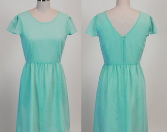 Pointe (Mint) : Seafoam mint chiffon dress, cap sleeves, parisian inspired, ballet, party, date night, bridesmaid