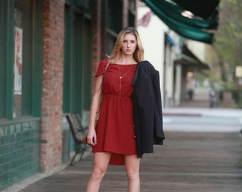 Lexi (Burgundy) : Burgundy red chiffon dress, high low skirt, cap sleeves, day to night, bridesmaid