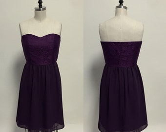 Debutante (Plum): Plum purple strapless lace dress, sweetheart neckline, silk chiffon shirred skirt, party, day, bridesmaid