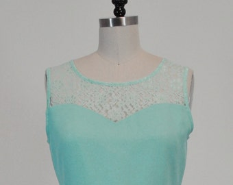 LORRAINE (Mint) CUSTOM FIT: Mint chiffon dress, lace sweetheart neckline, vintage inspired, party, day, bridesmaid