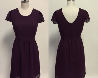 Pointe (Plum) : Plum purple chiffon dress, cap sleeves, parisian inspired, ballet, party, date night, bridesmaid