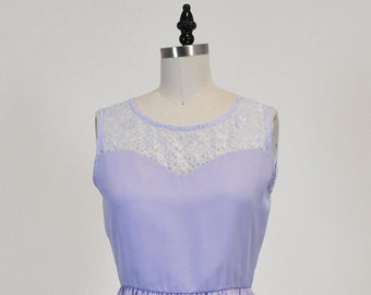 LORRAINE (Lavender) CUSTOM FIT: Lavender purple chiffon dress, lace sweetheart neckline, vintage inspired, party, day, bridesmaid