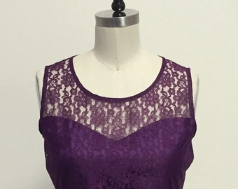 PROVENCE (Plum) CUSTOM FIT : Plum purple lace dress, sweetheart neckline, shirred skirt, chiffon sash, party, day, bridesmaid
