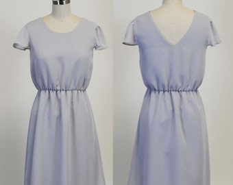 Lexi (Grey) : Grey chiffon dress, high low skirt, cap sleeves, day to night, bridesmaid