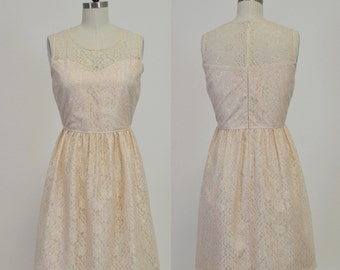 PROVENCE (Champagne) :Champagne lace dress, sweetheart neckline,  vintage, shirred skirt, chiffon sash, party, day, bridesmaid