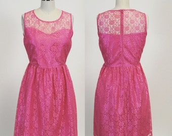 PROVENCE (Coral) : Coral pink lace dress, sweetheart neckline,  vintage, shirred skirt, chiffon sash, party, day, bridesmaid