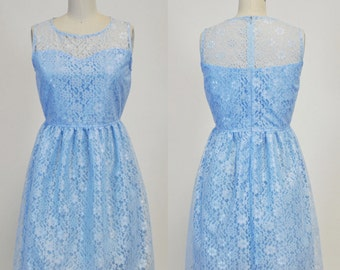 PROVENCE (Baby Blue) : Baby blue lace dress, sweetheart neckline,  vintage, shirred skirt, chiffon sash, party, day, bridesmaid